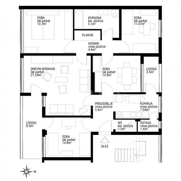 5 rooms, Apartment, 118m², 3 Floor