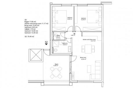2 rooms, Apartment, 78m², 1 Floor