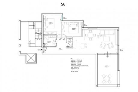 2 rooms, Apartment, 94m², 1 Floor