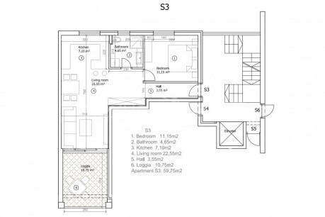 1 rooms, Apartment, 60m², 3 Floor